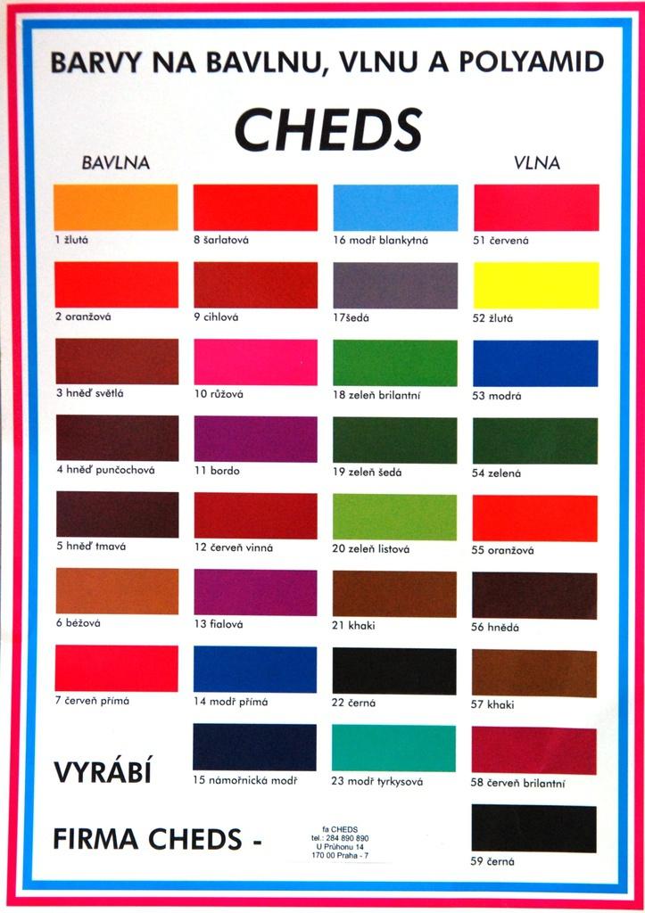 Barva na bavlnu – výrobce Společnost CHEDS v Praze 7 se zabývá zakázkovou výrobou barev např. barva ...